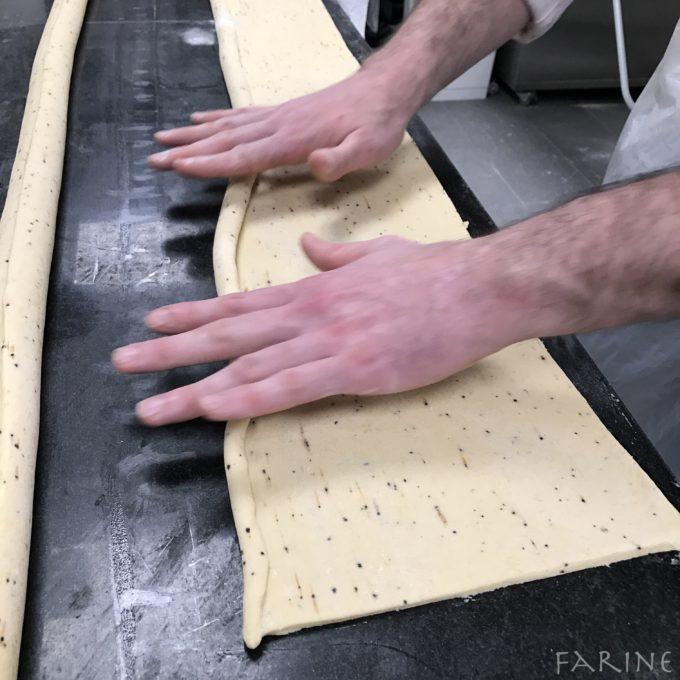 Rolling out brioche feuilletée